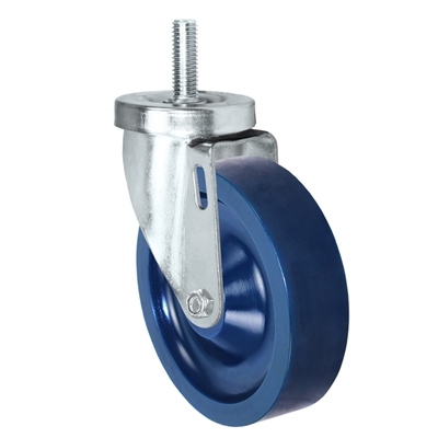 "5"" Threaded Stem Caster - Swivel Caster with Blue Solid Polyurethane Wheel - 350 lbs Per Caster - 1/2"" x 1-1/2"" Long Threaded Stem Caster"