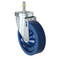 "5"" X 1-1/4""  Swivel Caster - Solid Polyurethane Wheel - 7/16"" Grip Ring Stem Caster -  350 LBS Load Capacity"