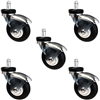 "60mm (3"") Office Chair Caster Set of 5 - Premium Gray Thermo Plastic Rubber Wheel"