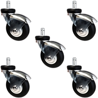 "60mm (3"") Office Chair Caster Set of 5 - Premium Black Neoprene Rubber Wheel"