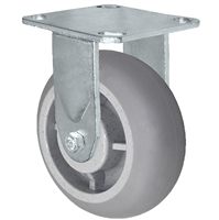 "4"" x 2"" Crowned Thermo Plastic Rubber Wheel - Rigid Caster - 4"" x 4-1/2"" Plate Size - 300 lbs Capacity"