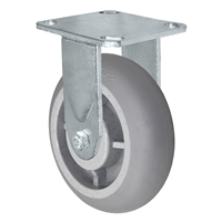 "6"" x 2"" Crowned Thermo Plastic Rubber Wheel - Rigid Caster - 4"" x 4-1/2"" Plate Size - 500 lbs Capacity"
