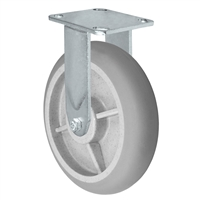 "8"" x 2"" Crowned Thermo Plastic Rubber Wheel - Rigid Caster - 4"" x 4-1/2"" Plate Size - 600 lbs Capacity"