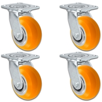 "4"" x 2"" Sirius HD Donut Polyurethane on Aluminum Wheel - Swivel Caster Set of 4 - Plate Size: 4"" x 4-1/2"" - Capacity: 4,000 lbs"