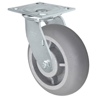 "5"" x 2"" Crowned Thermo Plastic Rubber Wheel - 4"" x 4-1/2"" Plate Size - 500 lbs Capacity"