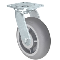 "6"" x 2"" Crowned Thermo Plastic Rubber Wheel - 4"" x 4-1/2"" Plate Size - 500 lbs Capacity"