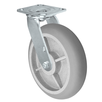 "8"" x 2"" Crowned Thermo Plastic Rubber Wheel - 4"" x 4-1/2"" Plate Size - 600 lbs Capacity"