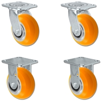 "5"" x 2"" Sirius HD Donut Polyurethane on Aluminum Wheel - 2 Swivel Casters 2 Rigid - Set of 4 - Plate Size: 4"" x 4-1/2"" - Capacity: 4,800 lbs Set of 4"
