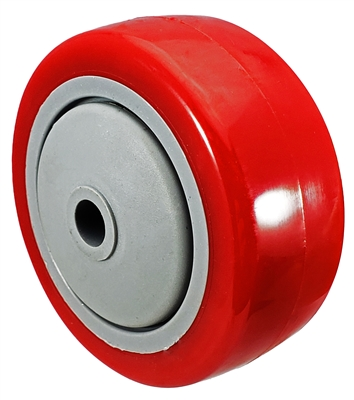 "3"" x 1-1/4"" Red Polyurethane Wheel for Casters or Equipment 250 lbs Capacity"