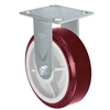 "6"" X 2"" Fixed Caster - Maroon on Gray Polyurethane on Polyolefin Wheel"