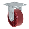 "5"" x 2"" Red Ductile Steel Wheel - Rigid Caster - 1,500 lbs capacity - Plate Size: 4-1/2"" x 6-1/4"""