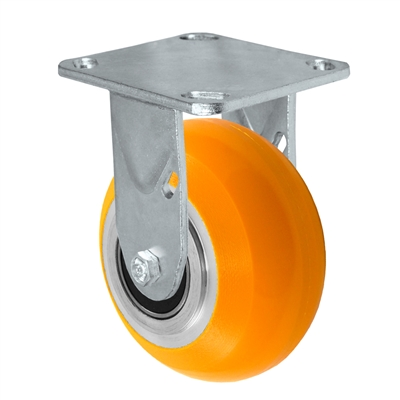 "5"" x 2"" Sirius HD Donut Polyurethane on Aluminum Wheel - Rigid Casters - Plate Size: 4-1/2"" x 6-1/4"" - Capacity: 1,200 lbs"