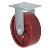 "6"" x 2"" Red Ductile Steel Wheel - Rigid Caster - 1,500 lbs capacity - Plate Size: 4-1/2"" x 6-1/4"""