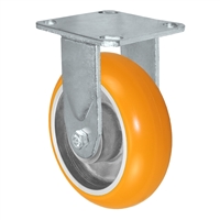 "6"" x 2"" Sirius HD Donut Polyurethane on Aluminum Wheel - Rigid Casters - Plate Size: 4-1/2"" x 6-1/4"" - Capacity: 1,500 lbs"