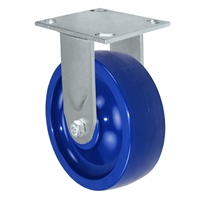 "6"" x 2"" Solid Polyurethane Wheel - Rigid Caster - 1,200 lbs capacity - Plate Size: 4-1/2"" x 6-1/4"""