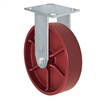 "8"" x 2"" Red Ductile Steel Wheel - Rigid Caster - 1,500 lbs capacity - Plate Size: 4-1/2"" x 6-1/4"""