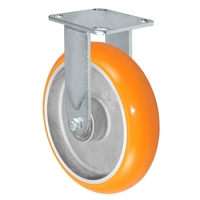 "8"" x 2"" Sirius HD Donut Polyurethane on Aluminum Wheel - Rigid Casters - Plate Size: 4"" x 4-1/2"" - Capacity: 1,250 lbs"
