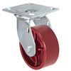 "5"" x 2"" Red Ductile Steel Wheel - Swivel Caster - 1,500 lbs capacity - Plate Size: 4-1/2"" x 6-1/4"""