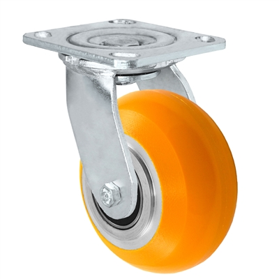 "5"" x 2"" Sirius HD Donut Polyurethane on Aluminum Wheel - Swivel Casters - Plate Size: 4-1/2"" x 6-1/4"" - Capacity: 1,200 lbs"