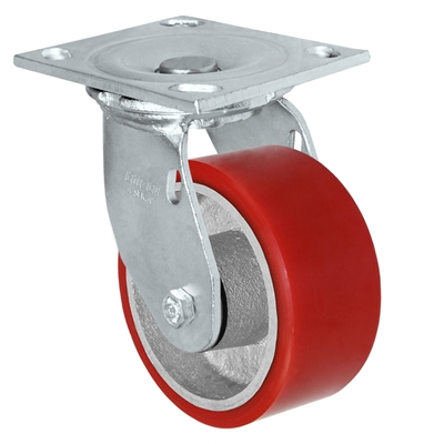 "6"" x 2"" Red Polyurethane on Iron Wheel 