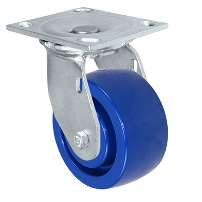 "5"" x 2"" Solid Polyurethane Wheel - Swivel Caster - 1,000 lbs capacity - Plate Size: 4-1/2"" x 6-1/4"""