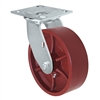 "6"" x 2"" Red Ductile Steel Wheel - Swivel Caster - 1,500 lbs capacity - Plate Size: 4-1/2"" x 6-1/4"""