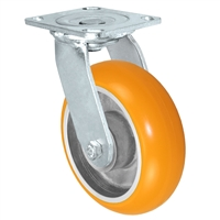 "6"" x 2"" Sirius HD Donut Polyurethane on Aluminum Wheel - Swivel Casters - Plate Size: 4"" x 4-1/2"" - Capacity: 1,250 lbs"