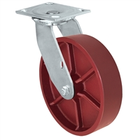 "8"" x 2"" Red Ductile Steel Wheel - Swivel Caster - 1,500 lbs capacity - Plate Size: 4-1/2"" x 6-1/4"""