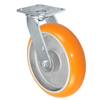 "8"" x 2"" Sirius HD Donut Polyurethane on Aluminum Wheel - Swivel Casters - Plate Size: 4-1/2"" x 6-1/4"" - Capacity: 1,500 lbs"