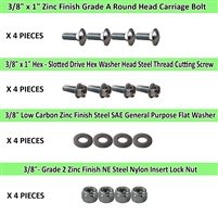 "3/8"" Caster Plate Mounting Hardware Combo Pack - 4 Pieces of Each"