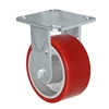 "5"" x 2"" Kingpinless Rigid Plate Caster - Polyurethane on Cast Iron Wheel - 1,000 lbs Capacity Per Caster - 4"" x 4-1/2"" Top Plate"