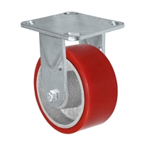 "4"" x 2"" Kingpinless Rigid Plate Caster - Polyurethane on Cast Iron Wheel - 700 lbs Capacity Per Caster - 4"" x 4-1/2"" Top Plate"