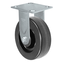 "6"" x 2"" Kingpinless Rigid Plate Caster - Phenolic Wheel - 1,000 lbs Capacity Per Caster - 4"" x 4-1/2"" Top Plate"