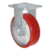 "6"" x 2"" Kingpinless Rigid Plate Caster - Polyurethane on Cast Iron Wheel - 1,200 lbs Capacity Per Caster - 4"" x 4-1/2"" Top Plate"
