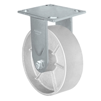 "6"" x 2"" Kingpinless Rigid Caster - Semi Steel Gray Iron Wheel -  1,200 lbs Capacity"