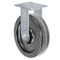 "8"" x 2"" Kingpinless Rigid Plate Caster - Phenolic Wheel - 1,400 lbs Capacity Per Caster - 4"" x 4-1/2"" Top Plate"