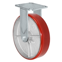 "8"" x 2"" Kingpinless Rigid Plate Caster - Polyurethane on Cast Iron Wheel - 1,400 lbs Capacity Per Caster - 4"" x 4-1/2"" Top Plate"