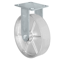 "8"" x 2"" Kingpinless Rigid Caster - Semi Steel Gray Iron Wheel -  1,400 lbs Capacity"