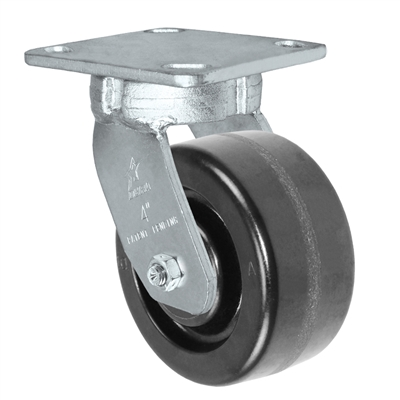 "4"" x 2"" Kingpinless Swivel Plate Caster - Phenolic Wheel - 800 lbs Capacity Per Caster - 4"" x 4-1/2"" Top Plate"