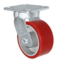 "5"" x 2"" Kingpinless Swivel Plate Caster - Polyurethane on Cast Iron Wheel - 1,000 lbs Capacity Per Caster - 4"" x 4-1/2"" Top Plate"