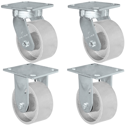 "4"" x 2"" Kingpinless 2 Swivel & 2 Rigid Caster Set of 4 - Semi Steel Gray Iron Wheel -  2,800 lbs Capacity Per Set of 4"