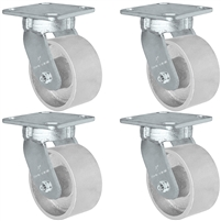 "4"" x 2"" Kingpinless Swivel Caster Set of 4 - Semi Steel Gray Iron Wheel -  2,800 lbs Capacity Per Set of 4"