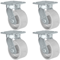 "5"" x 2"" Kingpinless Swivel Caster Set of 4 - Semi Steel Gray Iron Wheel -  4,000 lbs Capacity"