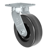 "6"" x 2"" Kingpinless Swivel Plate Caster - Phenolic Wheel - 1,200 lbs Capacity Per Caster - 4"" x 4-1/2"" Top Plate"