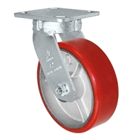 "6"" x 2"" Kingpinless Swivel Plate Caster - Polyurethane on Cast Iron Wheel - 1,200 lbs Capacity Per Caster - 4"" x 4-1/2"" Top Plate"