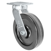 "8"" x 2"" Kingpinless Swivel Plate Caster - Phenolic Wheel - 1,400 lbs Capacity Per Caster - 4"" x 4-1/2"" Top Plate"