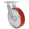 "8"" x 2"" Kingpinless Swivel Plate Caster - Polyurethane on Cast Iron Wheel - 1,400 lbs Capacity Per Caster - 4"" x 4-1/2"" Top Plate"