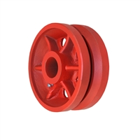"4"" X 2"" Red Ductile V-Groove Wheel - 1,500 lbs Capacity"