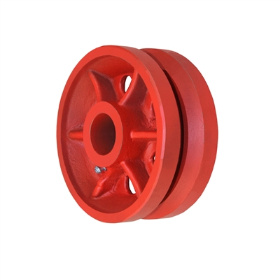 "6"" X 2-1/2"" Red Ductile V-Groove Wheel - 3,500 lbs Capacity"