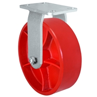 "10"" x 3"" Heavy Duty Rigid Caster - Red Ductile Steel Wheel - 2,500 lbs Capacity Per Caster"